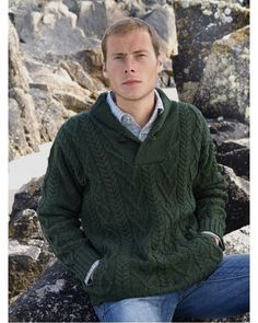 Promo Offer #Aran_Sweater. Made from 100% Soft Merino Wool. Incorporates traditional Irish Aran Fisherman knitting patterns. Available up to size XXL.  Colours Available: Natural & Army Green.