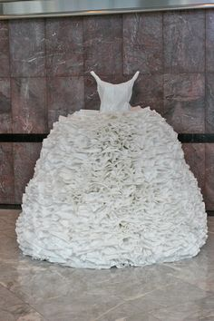 Title: Frill Date: 2008 Measurements: x Description: paper dress Material: rice paper, wire frame Provenance: London, UK Exhibition: Paper Tiger Paper Clothes, Paper Dresses, Autistic Artist, Art Easel, Paper Fashion, Altered Couture, Fashion Project, Recycled Art, Rice Paper