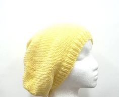 Knit Beanie Yellow Slouch acrylic Beret size large by CaboDesigns, $26.00