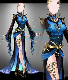 (closed) Outfit Adopt 645 - Miyazu-Hime by CherrysDesigns on DeviantArt Clothing Sketches, Dress Sketches, Dress Drawing, Drawing Clothes, Fashion Design Drawings, Fashion Sketches, Anime Outfits, Hero Costumes, Anime Dress