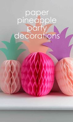 Paper Pineapple Party Decorations | Martha Stewart Living - These pretty-in-pink tropical fruit are easy to cut and fold. And a room full of them will make any get-together -- beach party,  pool party, or birthday party -- wildly fun.