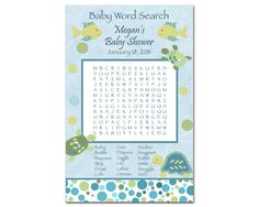 Printable CoCaLo Turtle Reef Baby Shower Word Search Game - Ocean, Fish, Turtle