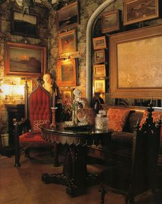 A gorgeous Gothic Revival parlor decorated with fierce chairs & Fortuny cushions. ~Splendor