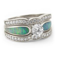 Radiant Diamond and Australian Crystal Opal Engagement Ring