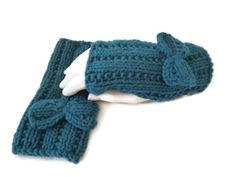 Womens Handknit Fingerless Gloves, Teal Fingerless Gloves, Gloves with bow, Fingerless Mittens by Maxiesknitwear on Etsy