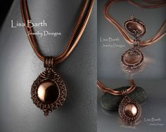 Experimenting with a locket design.  Hand woven wire work.  The copper disc was cut and dapped, then I drilled holes in it to weave it into the inside of the piece. --Lisa Barth