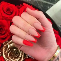 Acrylic Nails Coffin Short, Simple Acrylic Nails, Coral Acrylic Nails, Coffin Nails, Red Tip Nails, Cute Red Nails, Short Red Nails, Uñas Kylie Jenner, Acylic Nails