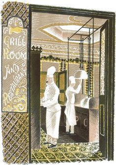 Eric Ravilious: 'Grill Room and Restaurant' as published in 'High Street' by J M Richards, London, 1938 (lithograph) Chefs, English Artists, British Artists, Le Chef, Woodblock Print, East Sussex, Illustrations Posters, Printmaking, Illustrators
