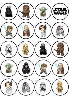Wafers decorated Star Wars drawings for a snack or super birthday party . Star Wars Baby, Han Star Wars, Star Wars Kids, Star Wars Karikatur, Star Wars Zeichnungen, Aniversario Star Wars, Star Wars Cartoon, Star Wars Drawings, Printable Star