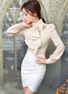 Elegant Ruffled Design Long Sleeve Chiffon Blouse