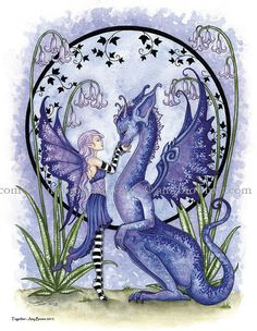 Dragon and fairy 8.5x11 PRINT Together by Amy Brown by AmyBrownArt
