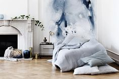 Transform your home space with design risk. Try unique decor trends like watercolor walls, half-painted walls, unfinished wallpaper, wallpapered stairs and diagonal door paint. Interior Inspiration, Design Inspiration, Bedroom Inspiration, Pantone 2016, Pantone Color, Broste Copenhagen, Watercolor Walls, Watercolor Wallpaper, Watercolor Artwork