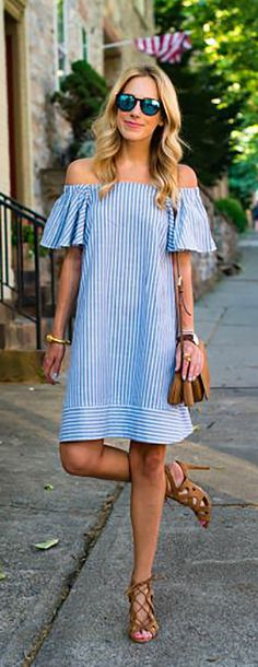 Modern Outfits, Casual Chic, Casual Looks, My Style, Womens Fashion, Clothes, Dresses, Seersucker Dress, White Jersey