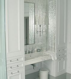 Love the bling tile in the bathroom
