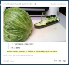 Veggie Titanic…Just love puns, visual, verbal, whatever.