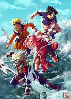 Team 7 I think this is my best pic ever! I started rewatching Naruto, and I wanted to draw the baby ninjas Anime Naruto, Naruto Team 7, Naruto Comic, Naruto Shippuden Sasuke, Naruto Kakashi, Naruto Fan Art, Boruto, Kakashi Chidori, Narusaku