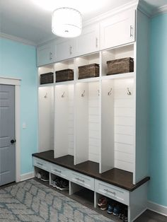 The mudroom lockers are done and I LOVE them! It is so convenient to have them right off the garage and the drawers, cabinets, and baskets make it easy to throw things in there and have it still lo… Laundry Room Storage, Laundry Room Design, Storage Room, Storage Ideas, Locker Storage, Mud Room Lockers, Home Lockers, Entry Lockers, Garage Lockers