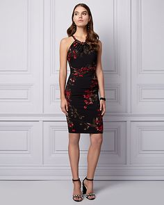 Floral Print Knit Halter Cocktail Dress - Side ruching lends flattering dimension to this knit cocktail dress topped with a timeless halter neckline gathered with beads.