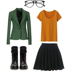 """daria easy costume"" by natally-leal on Polyvore @Lauren Davison Burton your bangs would work great with this costume! lol"