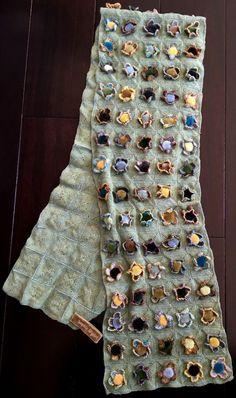 Beautiful Sophie Digard Handmade Scarf Green wool with Velvet Flowers     eBay
