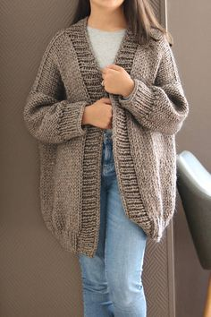 Items similar to Oversized Chunky Knit Sweater/ Sweater Cardigan/ Mauve cardigan/ Oversized Knit Cardigan/ Big Knits/ Loose Knit Cardigan/ Cozy Knit Sweater on Etsy – The Best Ideas Knit Cardigan Pattern, Oversized Knit Cardigan, Sweater Cardigan, Black And White Outfit, Big Knits, Mauve, Crochet Clothes, Pulls, Sweaters For Women