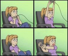 Girls playing video games.  haha!  This is so me!