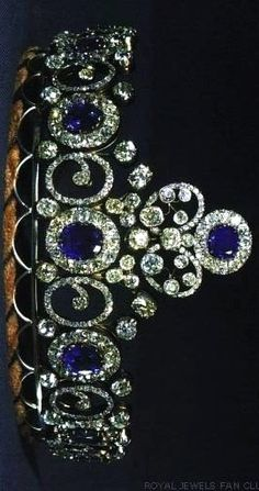 Grand-Duchess Anastasia's Sapphire Necklace Tiara, The first thing to know is that this sapphire and diamond tiara was originally a necklace, which story started in 1879, when grand-duchess Anastasia Mikhailovna of Russia married grand-duke Friedrich Franz III of Mecklenburg-Schwerin. The necklace came into the Danish royal family when it was left to her elder daughter, Queen Alexandrine, spouse of King Christian X of Denmark.