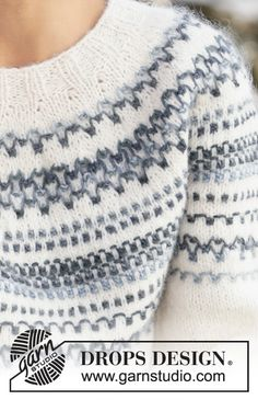 Knitted jumper with round yoke in DROPS Big Delight and DROPS Air. The piece is worked top down with textured pattern. Sizes S - XXXL. Fair Isle Knitting Patterns, Knitting Charts, Knitting Socks, Free Knitting, Crochet Patterns, Drops Design, Pattern Design, Free Pattern, Work Socks
