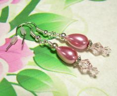 Pink Glass Pearl Crystal Drop Earrings by GrammysBeadsNBaubles, $4.97