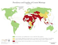 Cousin marriage across the world. Such marriages range from being considered ideal/ actively encouraged, to uncommon but legal, to seen as incestuous/illegal. While stigmatized in the Western world, they remain common in the Middle East and account for over 1/2 of all marriages in some nations. Offspring born to parents who are 1st cousins are at higher risk of various genetic defects as they may inherit two mutations via recessive alleles, from each parent.