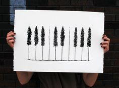 Piano Pines    Handpulled 1 Color Screenprint by HeretoTherePrints