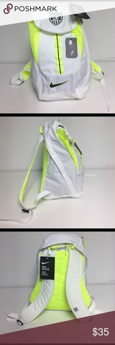 Nike US National Soccer Team Backpack! ⚽️ Brand new bag with tags! Beautiful white and neon design. US Natuonal Soccer Team apparel. Has compartment for shoes Nike Bags Backpacks