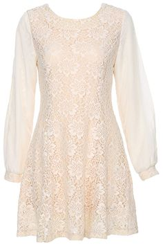 ROMWE | ROMWE Lace Embellished Long-sleeved Apricot Dress, The Latest Street Fashion