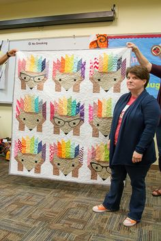 This OKC Modern Quilters Hazel the Hedgehog quilt is fun