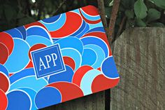 Red & Blue Circle Monogrammed Stationery set of 12, $20.00