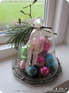 Vintage glass ornaments from the USA in my home (Denmark).  Lisbet *LLL & Co.*