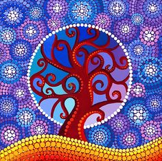 Moontime Illuminated Orb Tree  Acrylique sur toile - 2009  Elspeth McLean  http://elspethmclean.com