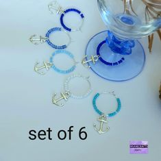 6 glass charms wedding favors, Anchor wine glass charm bachelor party favors, Sea lover glass tags, Blue anchor wine tags gift for captain Bachelor Party Favors, Bachelor Parties, Gifts For Him, Great Gifts, Amazing Gifts, Handmade Accessories, Handmade Jewelry, Etsy Handmade, Handmade Gifts