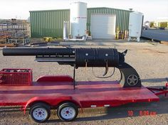 "While we're on the subject of handgun-shaped grill, take a look at this 19-ft long grill made by Spook and J.W. Holtman in Lubbock, Texas, who said ""Heck, it's Texas, what did you expect?"""