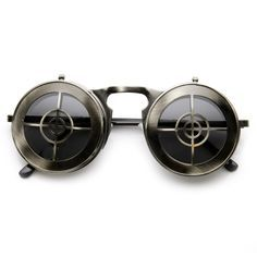Unique Full Metal Flip Up Bulls Eye Crosshair Target Steampunk Sunglasses 9346 from zeroUV