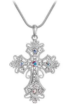 Xcrystal - Large Antique Filigree Crystal Cross Necklace