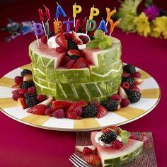 A watermelon Birthday Cake- fun for summer! A watermelon Birthday Cake- fun for summer! Healthy Birthday Cakes, Fruit Birthday Cake, Watermelon Birthday, Birthday Desserts, Summer Birthday, Happy Birthday, Healthy Cake, Office Birthday, Birthday Cookout