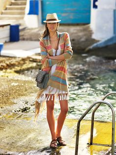 inspired by classic turkish towell this soft fringed cardigan will keep you warm from those fresh afternoon sea breezes Summer Campaign, Fringe Cardigan, Spring Summer 2015, Wrap Dress, Shirt Dress, Sea, Classic, Warm, Fresh
