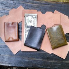 Size line up of our #foldwallet. Newly added cropped model on left. Bigger #wallets available. #stitchlesswallet Molded #horsehide  #mensaccessories #mensfashion #edc #everdaycarry #minimalistwallet #minimalistdesign #leathergoods #madetolast #musa #minnesota #minneapolis
