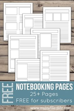 Note taking templates  These PDF files have editable fields so that     FREE Notebooking Pages