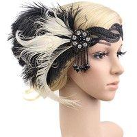1920s Headband 20s Feather Bridal 20's Great Gatsby Flapper Headpiece Gangster Description: Ty