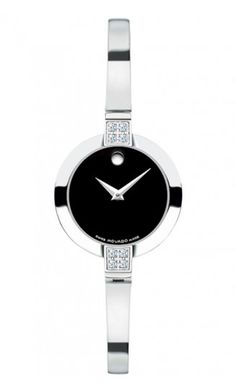 Movado Bela stainless steel case with diamonds, black Museum® dial, stainless steel bangle bracelet, Swiss quartz movement $995.00