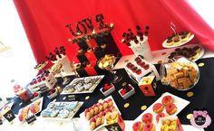 Mesa dulce para boda de pelicula inspirada en Hollywood