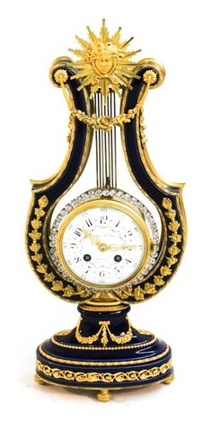 Exceptional French porcelain & ormolu lyre clock for Theodore B. Starr, New York, Paris, late 19th century. blue porcelain case with ormolu mounts retaining 'ring of brilliants' compound pendulum surrounding dial marked Theodore B. Starr, New York