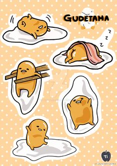 Gudetama Stickers by TIapple on DeviantArt Kawaii Stickers, Diy Stickers, Printable Stickers, Outdoor Stickers, Snoopy Comics, Tumblr Stickers, Cool Art Drawings, Sanrio Characters, Aesthetic Stickers